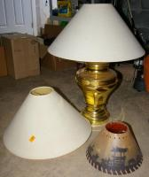 "Brass Table Lamp with 2 Extra Shades 28"" Tall"