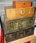 "2 Trunks, Suitcase, Travel Case.  Largest Trunk Measures 34""x20""x13"""