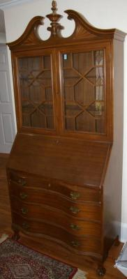 "Cherry Serpentine Front Secretary Bookcase 36""x16""X81"""