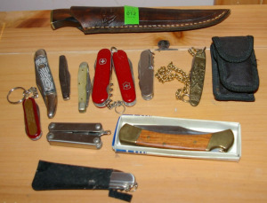 Collection Of Pocket Knives & 1 Sheath Knife
