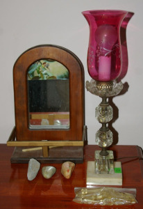 "Mirrored Back Wall Shelf, 3 Pet Rocks, Cranberry & Clear Glass Table Lamp 19"" Tall W/Extra Prisms"