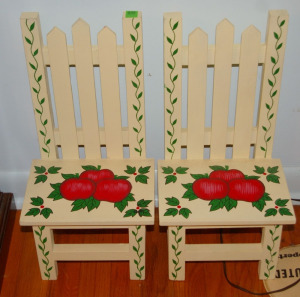 "Pair - Hand Painted Doll Chairs 18"" Tall"