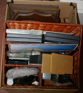 Box: Assorted Office Supplies, Military Wall Plaques