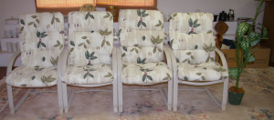 Set of 4 Patio Spring Chairs, Artificial Plant