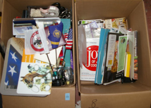 2 Boxes: Assorted Office Supplies & Cookbooks
