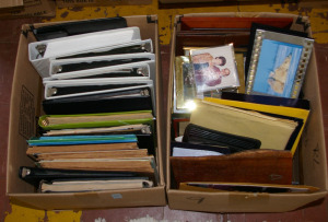 2 Boxes: Assorted Loose Leaf Binders, Picture Frames, Plaques