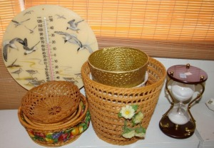 Assorted Baskets, Hour Glass, Thermometer