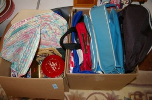2 Boxes: Assorted Bags, Linen & Tins