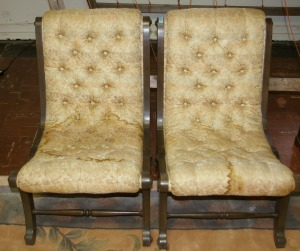Pair Tuft Back & Bottom Side Chairs