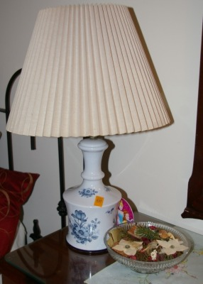 "Blue & White Table Lamp 22"" Tall & Pressed Glass Bowl"