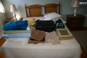 Assorted Linen, Video Camera & Case, Picture Frames