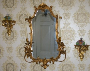 3 Piece Wall Mirror & Wall Sconces