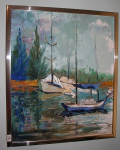 "Framed Oil On Canvas - Sail Boats 21""x25"""