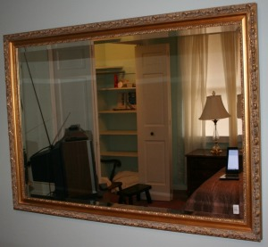 "Gilt & Gesso Frame Beveled Edge Wall Mirror 46""x33"""