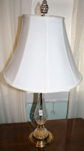"Pair Pressed Glass Brass Base Table Lamps 30"" Tall"