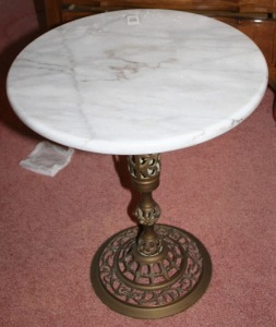 "Brass Base Marble Top Plant Stand 18"" Tall 15"" Diameter"