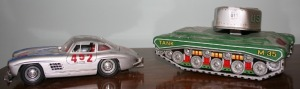Die Cast Mercedes Model & Tin Toy Tank