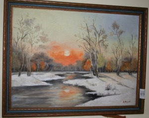 "Framed Oil On Board - Winter Scene, Signed H. Bryant 17""x14"""