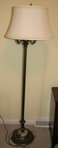 "Brass & Alabaster Base Floor Lamp 52"" Tall"