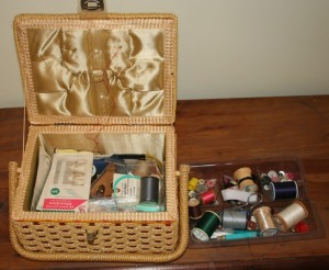 Sewing Basket & Assorted Sewing Notions