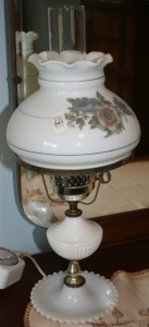 "Milk Glass Table Lamp 21"" Tall"