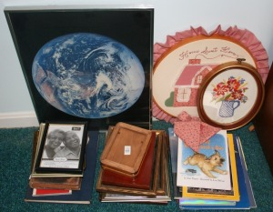 Assorted Picture Frames, Books, & Magazines